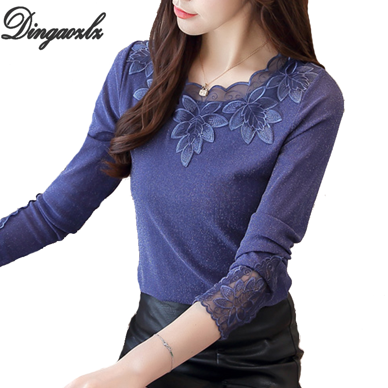 Dingaozlz Korean Fashion Clothing Plus Size Women Blouse Patchwork Mesh Embroidery Shirt Casual Female Lace Tops Feminina 4XL