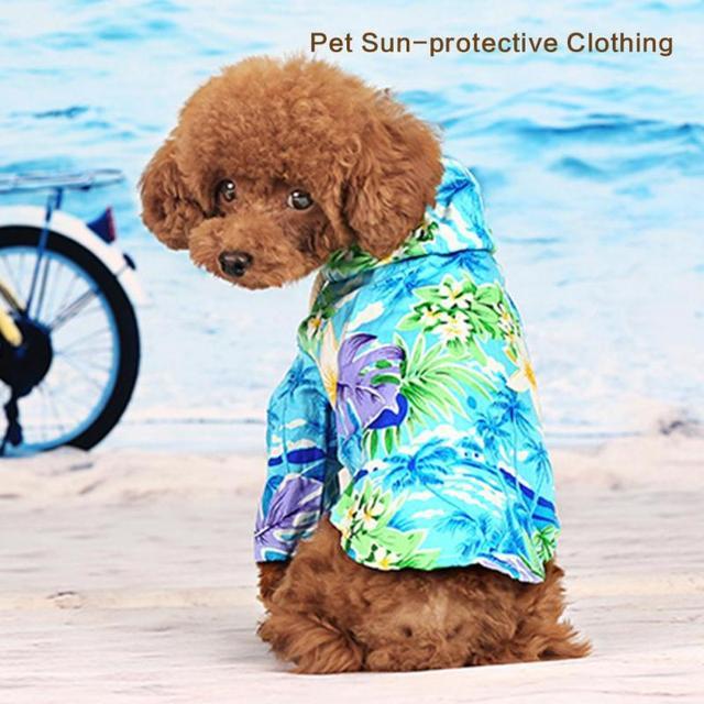 Hawaii Style Pet Dog Clothes Summer Beach Wear Sweatshirt Small Puppy Hoos Shirt Coat Roupas