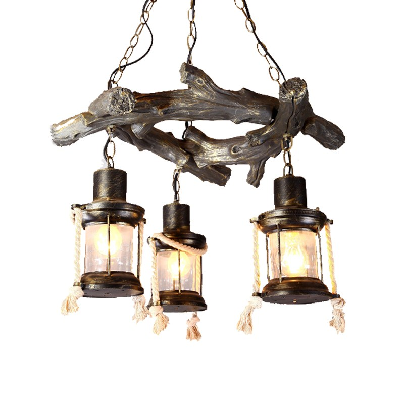 American antique Pendant Lights personality creative retro industry loft resin hemp roasted coffee shop bar Chinese Pendant lamp american industrial hemp rope iron crystal pendant lights creative personality living room coffee shop 75cm retro pendant lamps