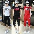 De dos piezas 2016 de la moda Coreana Estudiante Caliente pantalones de Algodón de Ventilación Slim 2 unidades set mujeres cortos harajuku mujeres de la camiseta