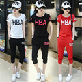 two piece set 2016 fashion Korean Student Hot pants Cotton Ventilation Slim Thin 2 piece set women harajuku shorts t shirt women