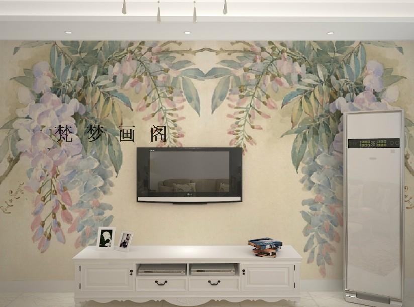 ФОТО Free Shipping Retro hand-painted floral pastoral painting living room sofa TV background mural wallpaper