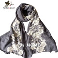 [Marte&Joven]Ethnic Style Floral Embroidery Scarf and Shawls for Women Mori Girl Oversized Flower Scarves and Foulard Ladies