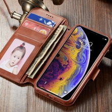 Luxury PU Leather Case For iPhone X XS Max Retro Magnetic Phone Card Holder Wallet Cover R 8 7 6s Plus
