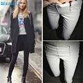 Durable 2016 pantalon femme Señora Cremallera Lápiz Pantalones de Talle Alto Delgado Stretch Leggings Pantalones Pantalones