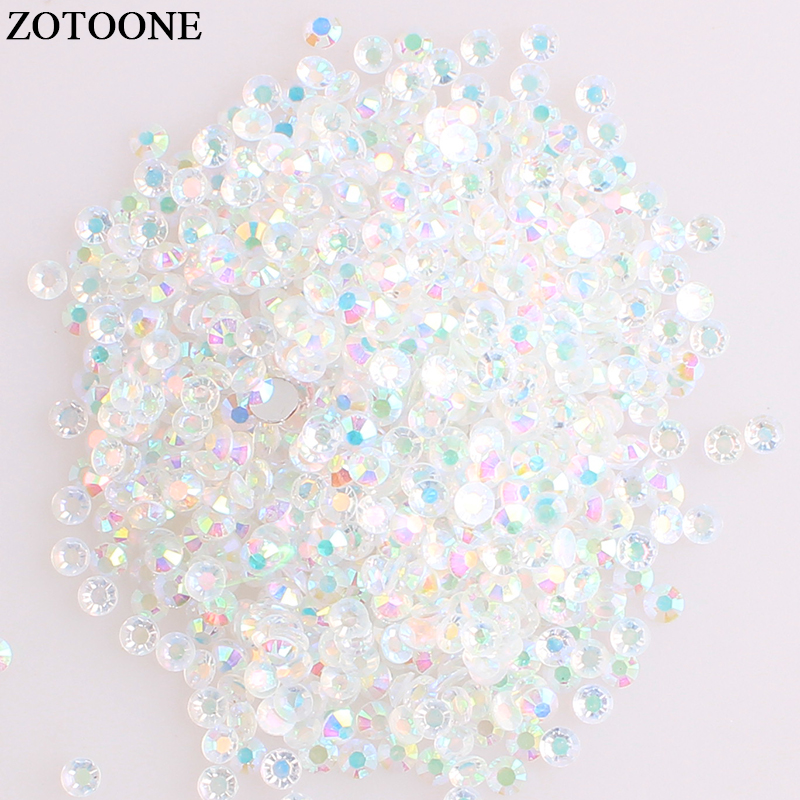 ZOTOONE Flat Back Crystal AB Resin Not Hotfix Rhinestones For Nail Art DIY Phone Stones And Crystals Decorations Strass Applique