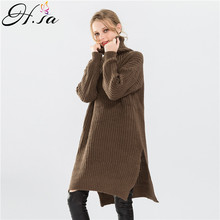 H.SA 2016 Fashion Women Turtleneck Long Sleeve Winter Knitted Sweater Dress Loose Oversize Jumper Pullovers Thick Warm Pull Unif