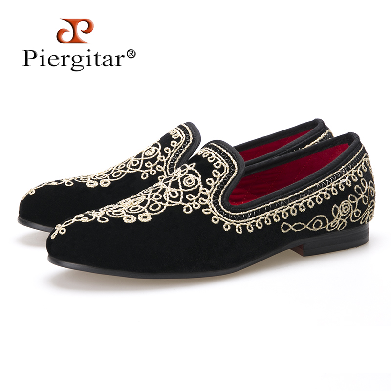цена на Luxurious Handmade Embroidered Motif Paisley Men Velvet Loafer Slippers Men Wedding and Party shoe Size 4-14 Free Shipping