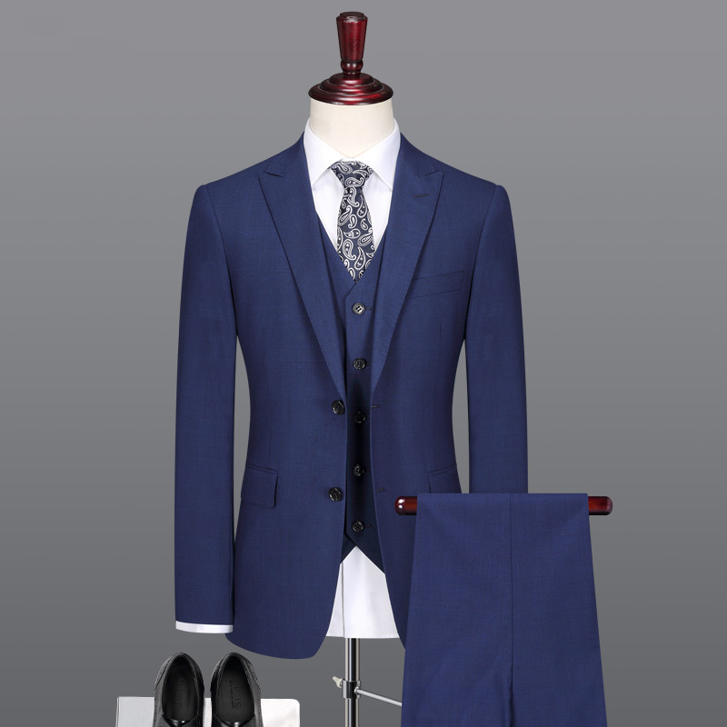 Men Suit 10% Silk 70% Wool High Quality Brand-clothing Summer Autumn Latest Coat Pant Design Men Suits For Wedding Slim Blue 3pc