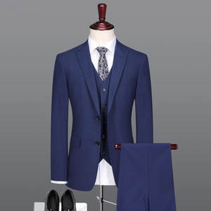 Coat Pant Men Suit Wedding-Slim Blue Design Summer High-Quality Silk Wool for 3pc Autumn