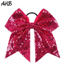 AHB 7 Solid Sequin Cheer Bow for Girls Children Boutique Ribbon Hair Bows with Elastic Band Headband Kids Accessories