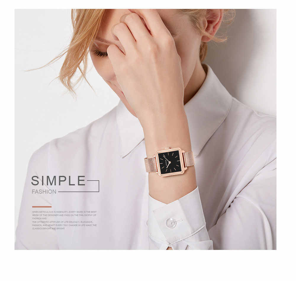 25b9a08c5b1d Women Rose Gold Square Waterproof Watch Japanese Quartz Movement Milanese  Stainless Steel Mesh Band Lady Watch