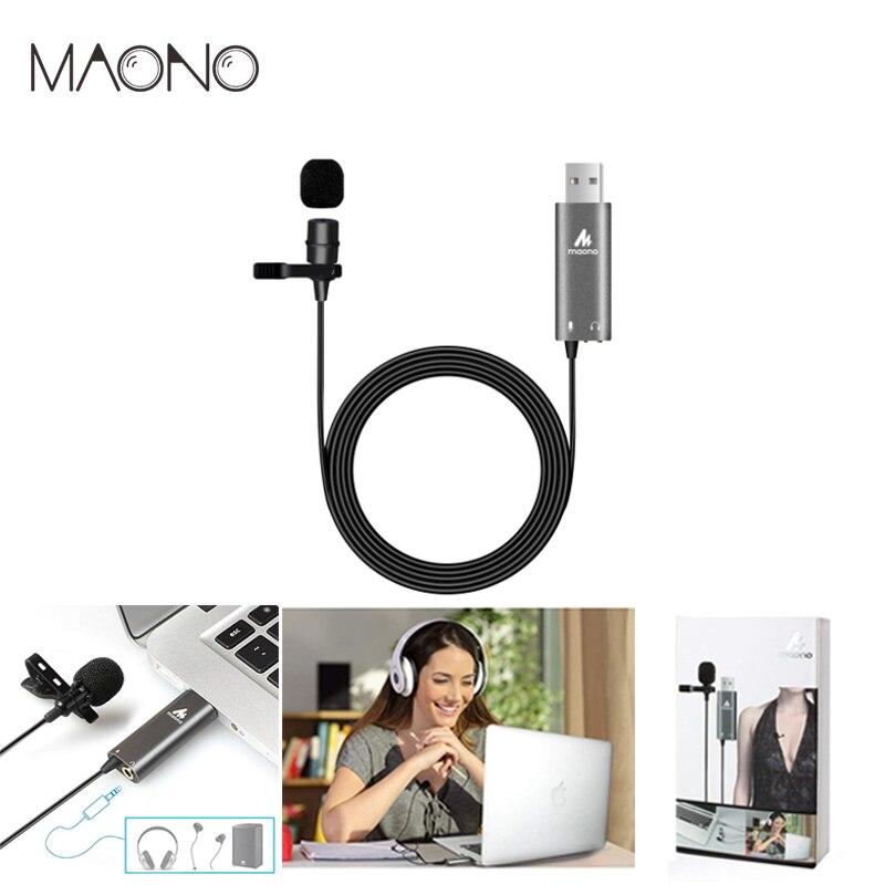 MAONO USB Cravate Microphone Clip sur Condenseur Microphone Revers Mic Mains Libres Chemise Col Microphone pour Youtub Diffusion En Direct