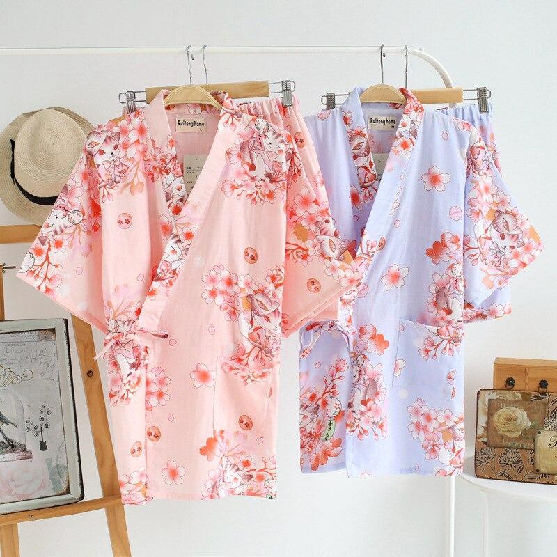 New! Cotton Pajama Set Women Pajama Shorts Kimono Yukata Shorts Set Traditional Print Sleepwear Women Summer