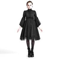 Осень Готический Стильное платье Лолиты черный Vestidos Винтаж платье туника Тонкий Панк Высокая талия с расклешенными рукавами платье базова