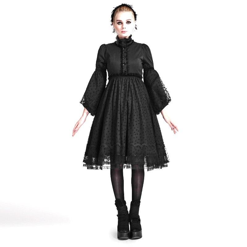 Automne Gothique Lolita Style Robe Noire Robes Vintage Robe Tunique Slim Punk Dentelle Taille Haute Flare Manches Robe Vêtements De Base