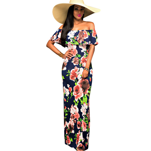 12cfccd1fea Women Long Summer Dress Vintage Boat Neck Floral African Print Maxi Dresses  Bodycon Off Shoulder Dress