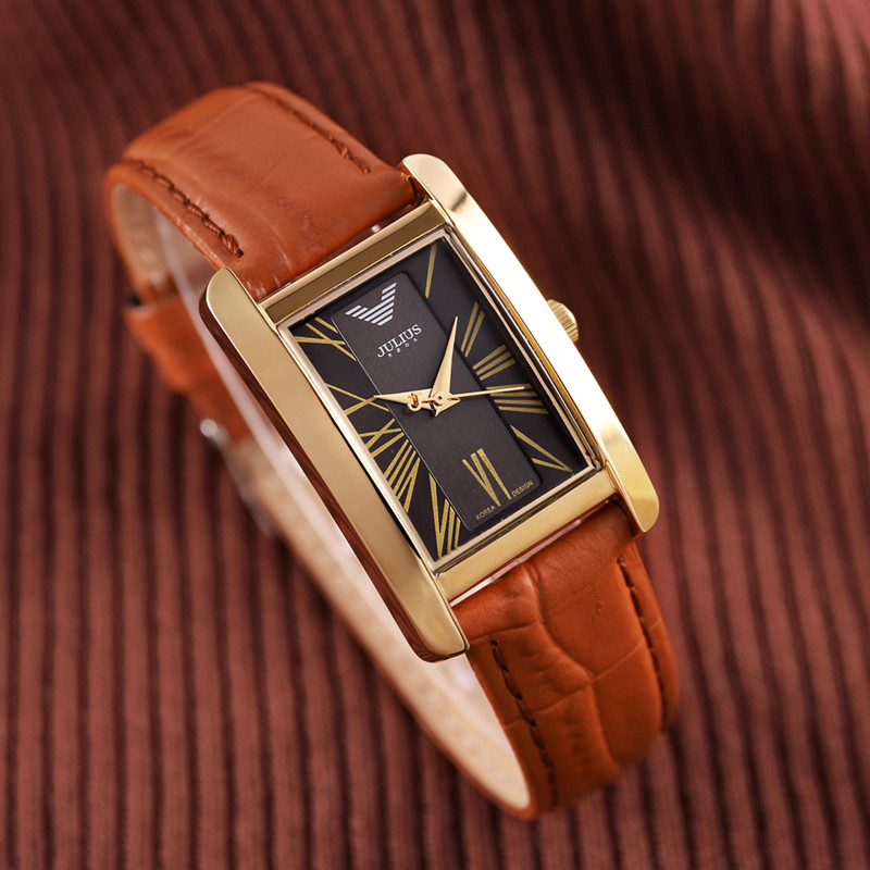 Classic Women's Watch Japan Quartz Hour Fine Fashion Bracelet Luxury Brand Leather Clock Girl's Birthday Gift Box Julius 399