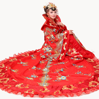 New Dramaturgic Dress Ancientry Tang Dynasty Queen Tailed Costumes Stage Performance Clothing Women Hanfu Princess Cosplay Dress