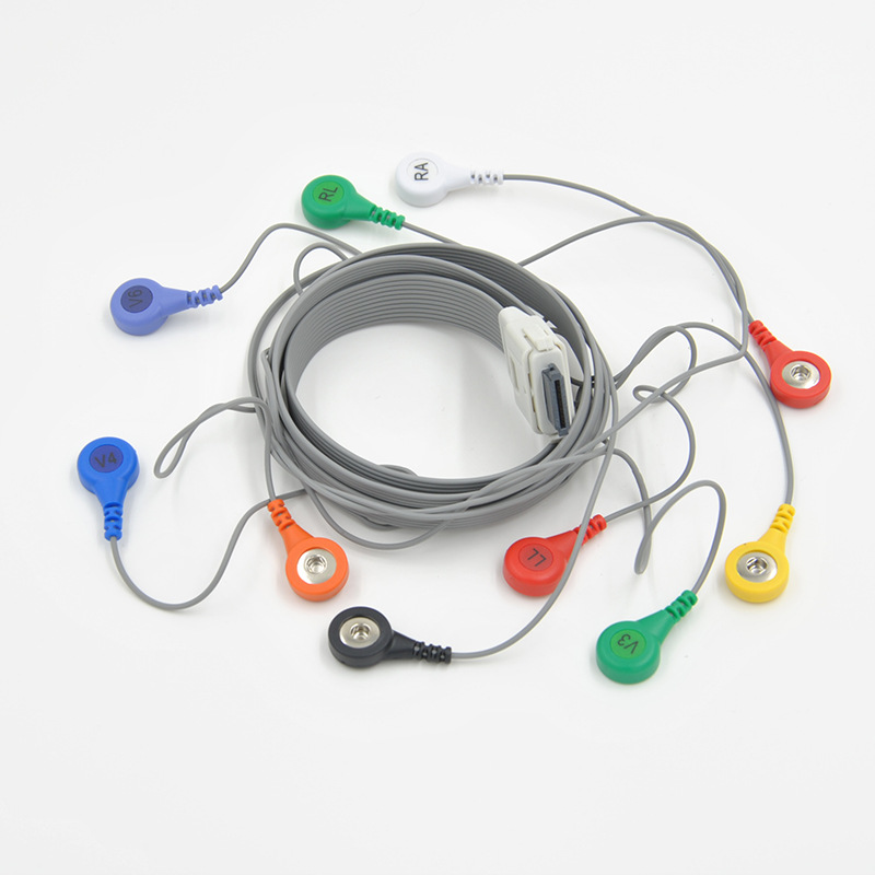 Compatible with Edan Holter ECG Machine the 10-lead holter cable,AHA or IEC,Exercise EKG cable.