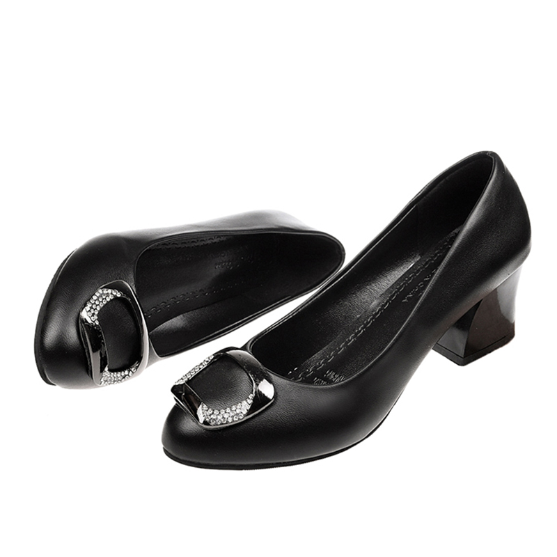 Rimocy High Quality Soft Leather Med Heels Pumps Women Big Crystal Buckle Square Heeled Ladies Office Shoes Woman Casual Size 41
