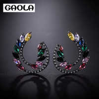GAOLA Elegant Romatic Geometric Clear Cubic Zirconia Big Stud Earrings Wedding Jewelry GLE9020