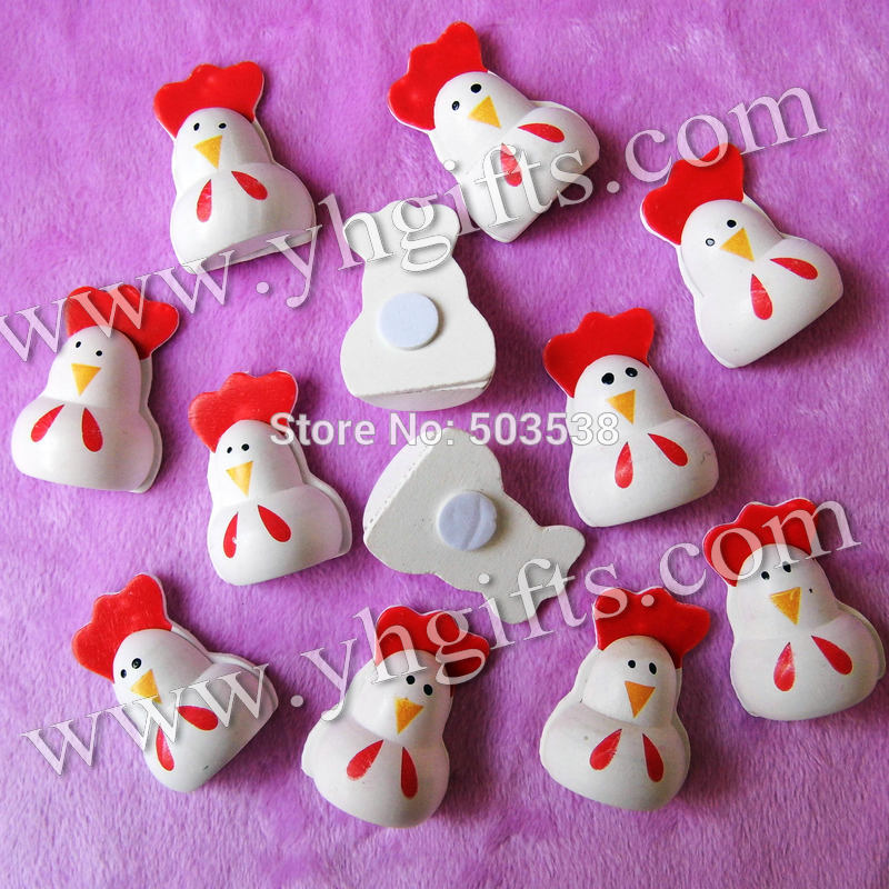 50PCS/LOT.Wood cock stickers,Kids toys,scrapbooking kit,Early educational DIY.Kindergarten crafts.Classic toys.2.5x3.5cm.