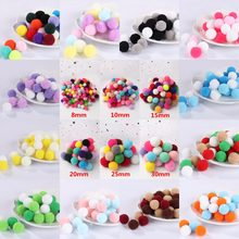 Mix Pompom 8mm 10mm 15mm 20mm 25mm 30mm Pompones Fluffy Plush Macio Artesanato DIY furball Pom Poms Bola Home Decor Costura Suprimentos(China)