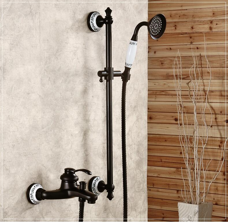 Free shipping Black antique brass wall mount shower faucet set bath ...