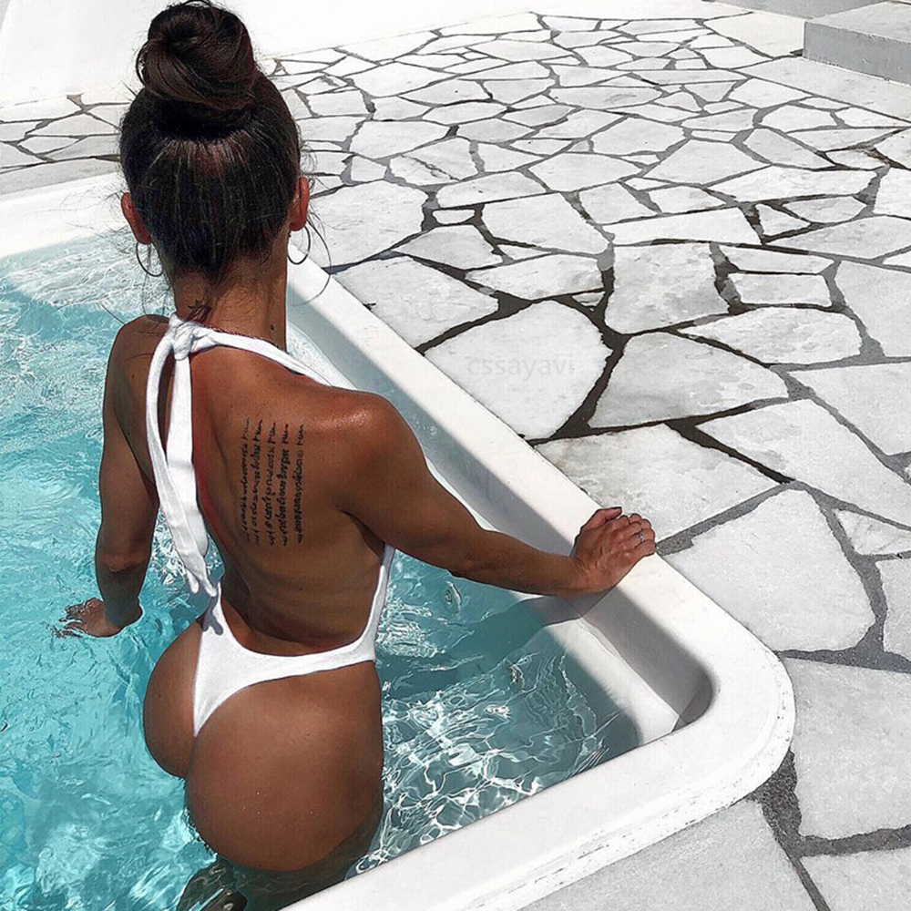 Sexy One Piece Swimwear High Neck Swimsuit Women 2018 Bandeau Monokini Thong Trikini White Bathing Suit Femme Swimsuits Bodysuit in Body Suits from Sports Entertainment