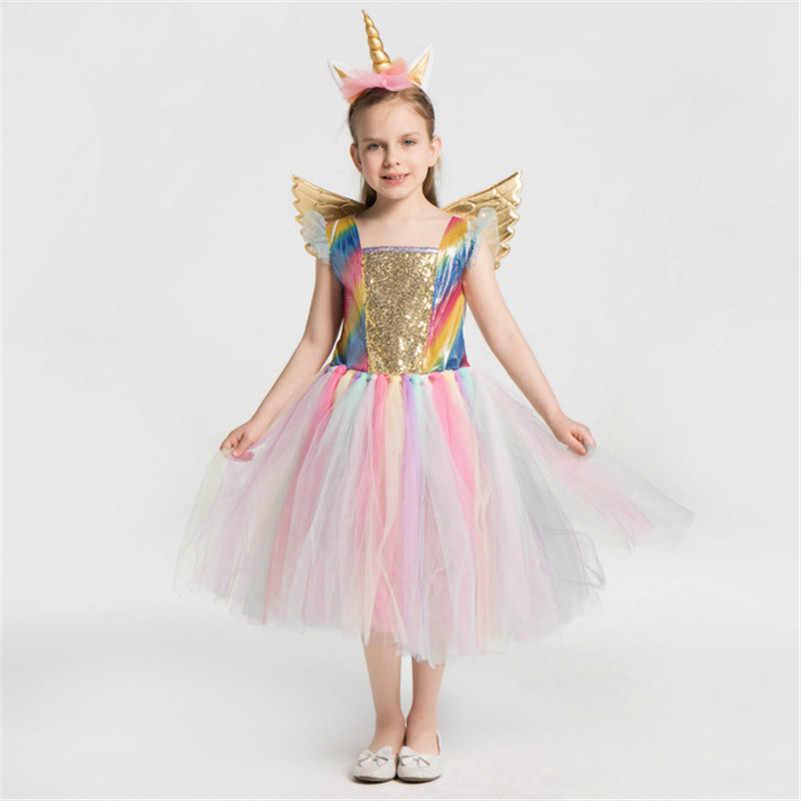 Детское платье с радужным единорогом для девочек, косплей, выпускной костюм, детские кружевные платья принцессы, обруч для волос, Комлект из крыльев и диадемы, вечерние платья-пачки на Хэллоуин