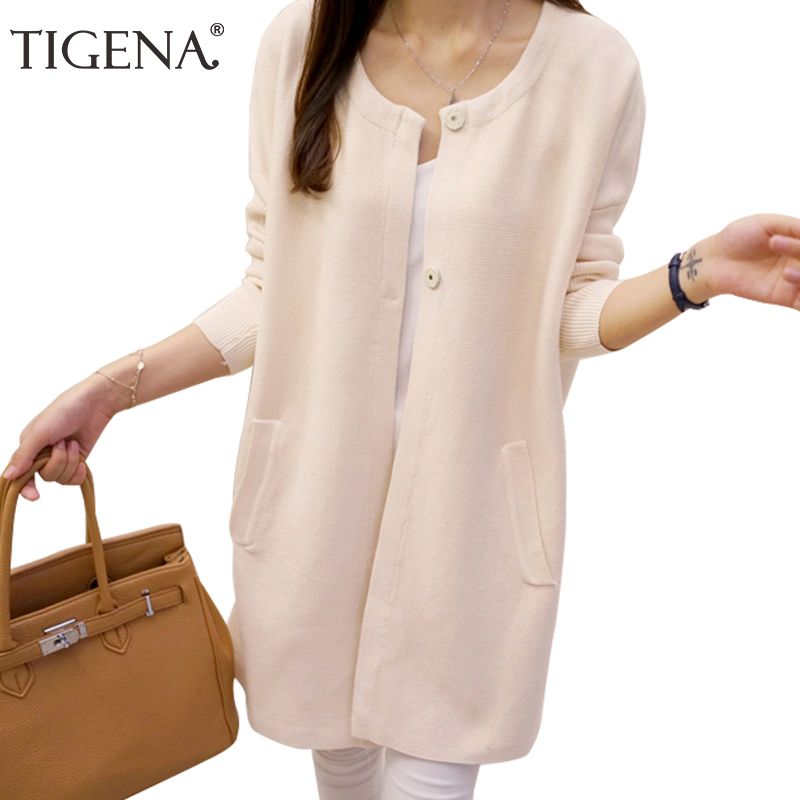 TIGENA New Arrivals Covered Button Long Cardigan Female 2017 Long Sleeve Knit Cardigans  ...