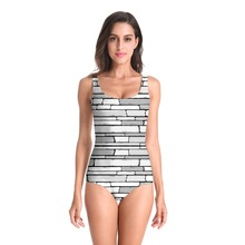 Fashion One Piece Swimsuit Women Swimwear 3D Wall Printed Monokini Maillot De Bain Femme Bodysuit Female Bathing Suit Beach Wear