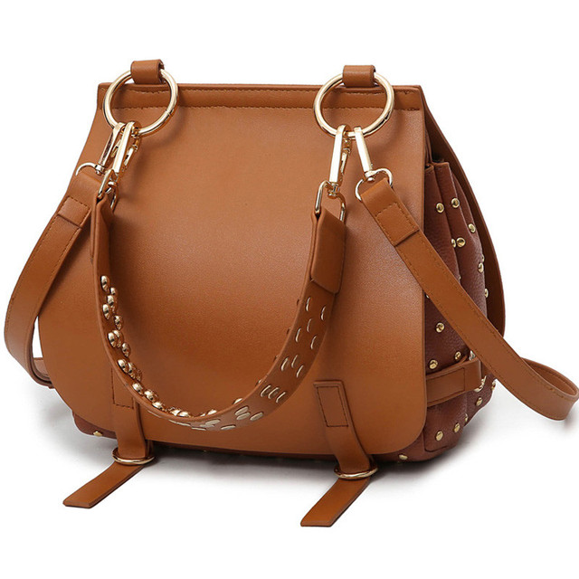 Women Brand Rivet Crossbody Bag  Fashion Women's Bag Handbag Ladies Pu Leather Famous Designer Brand Bags Saddle Tote Bag