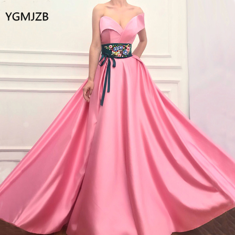 Pink One Shoulder   Prom     Dresses   2018 Satin 3D Flowers Sashes Elegant Long Formal Party   Dress   Evening Gowns Robe De Soiree