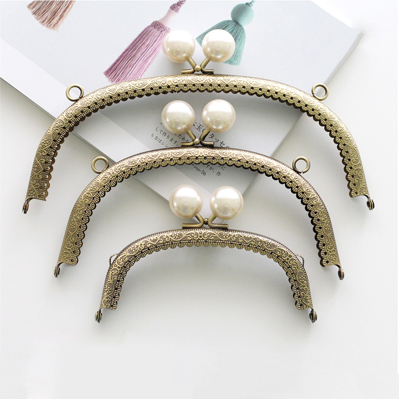 Lovely Pearl Head Metal Kiss Clasp Frame Replacement For Handmade Purse Metal Frame Handle Bag DIY Accessories KZ151324
