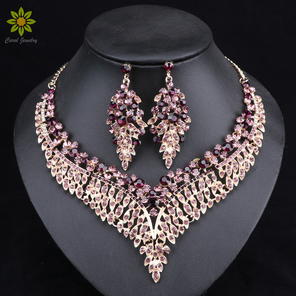 Leaf African Bridal Jewelry Sets for Women Big Crystal Statement Necklace Earrings Sets Wedding Jewelry pair of chic faux crystal waterdrop leaf earrings for women