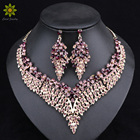 Leaf African Bridal Jewelry Sets for Women Big Crystal Statement Necklace Earrings Sets Wedding Jewelry