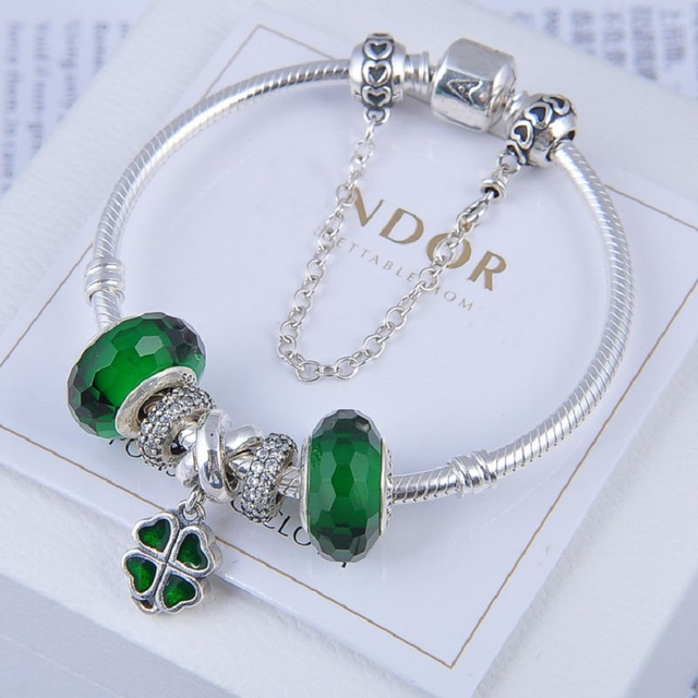 d255f8a3d Fashionable Spring Pandora bracelets for girls green glass beads Four-leaf  clover charms gifts fit European DIY Jewellery