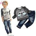 Crianças Meninos Manga Comprida Pulôver Shirt + Jeans Calças 2015 Primavera Roupa Dos Miúdos, Meninos Set Roupas casuais