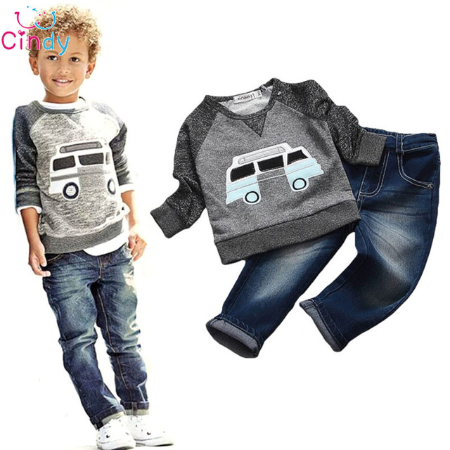 Infantil Chicos de Manga Larga Pullover Camisa + Jeans Pantalones de Mezclilla 2015 Primavera Ropa de Los Niños, Muchachos Que Arropan el sistema ocasional