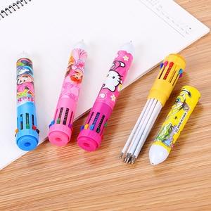 Image 4 - 100 Pcs Creative מכתבים 10 צבע כדורי עט תלמיד פרסים רב תפקודי צבע חמוד למידה ציור גרפיטי עט