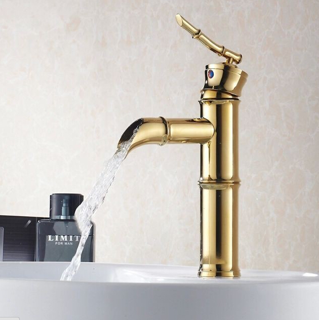 Bathroom faucet luxury Golden Polished Bamboo Style Bathroom Basin ...