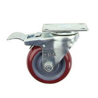 New 5 PU Swivel Wheel Caster Industrial Castor Brake Double Univeral Wheel 360 Degree Rolling Medical