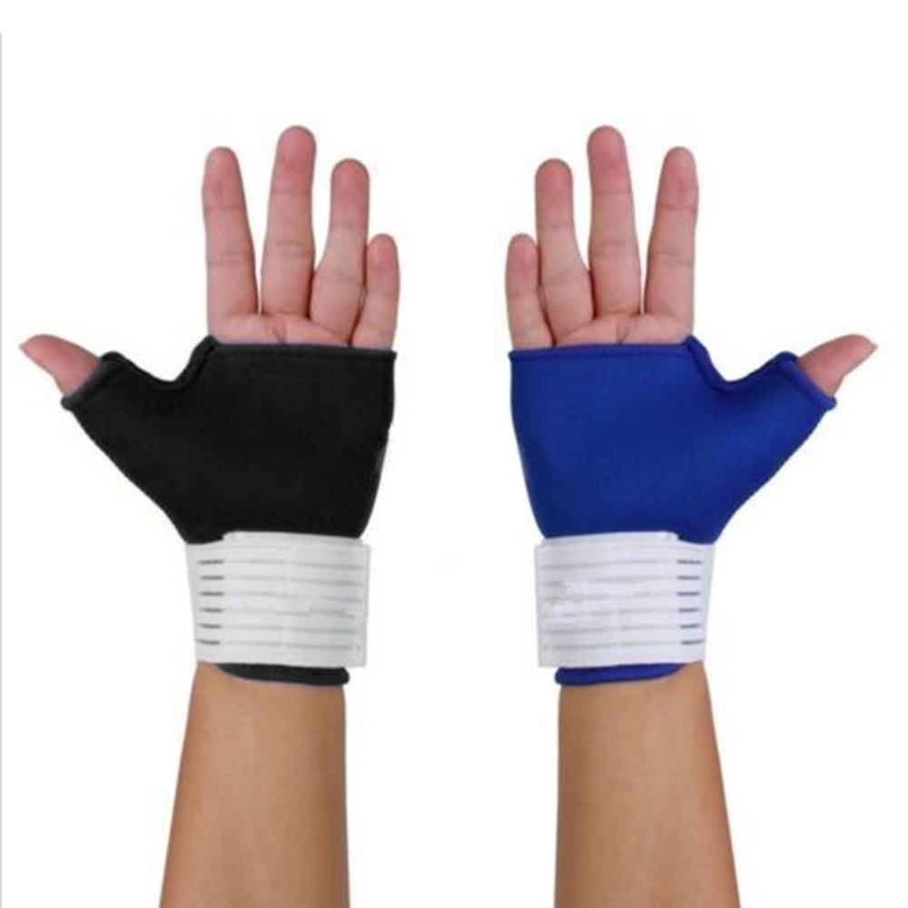 1pair Palm Wrist Hand Support Glove Sports Bandage Gym Half Finger Thumb Wrap Sport Safety Elastic Hand Wristband Brace