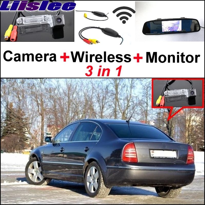 Liislee Mirror Monitor Easy Back Parking System For Skoda Superb B5 3U 2001~2008 3 in 1 Special Wireless Rear View Camera System liislee 3in1 special rear view camera wireless receiver mirror monitor easy parking system for lexus ls430 celsior 2001 2017