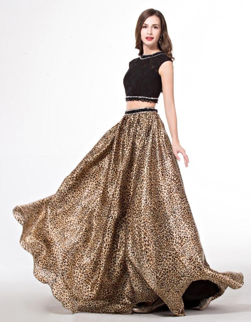 Cap de manga larga de 2 unidades estampado leopardo vestido de fiesta  A línea d