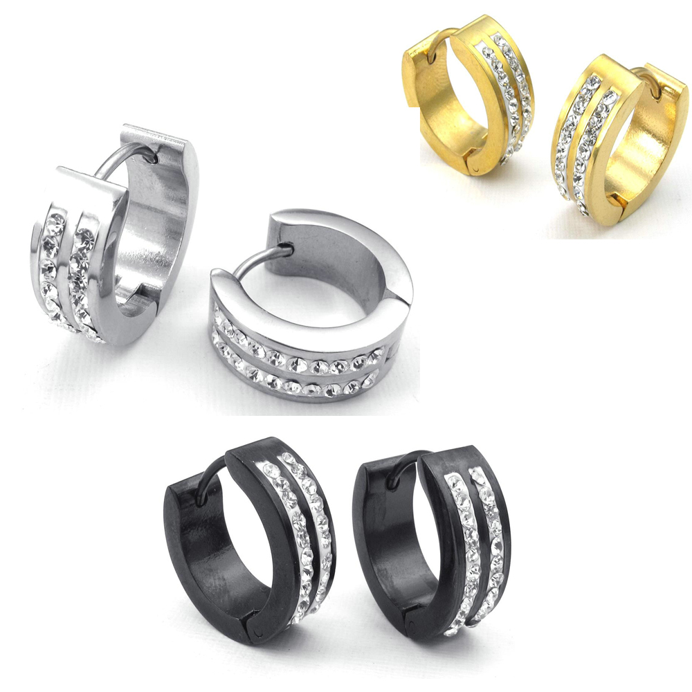Hot Selling Fashion Jewelry Mens Womens Cubic Zirconia Stainless Steel Stud  Huggie Hoop Earrings Set,