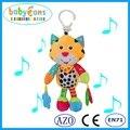 Baby chocalhos de Bebê bonito gato de pelúcia Música Voz Flexível Cama Pendurado Brinquedos Educativos Fantoche Gato Voz Brinquedos Educacionais Do Bebê