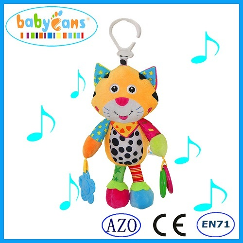 Baby rattles Baby cute cat plush Music Voice Flexible Puppet Educational Bed Hanging Toys Voice Cat Baby Educational Toys